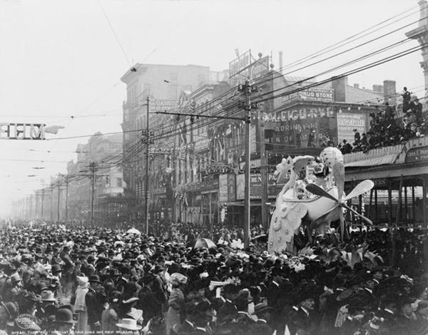 The Rex pageant, Mardi Gras Day, New Orleans, LA, circa 1907